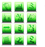 Icons with financial symbols Stock Photos