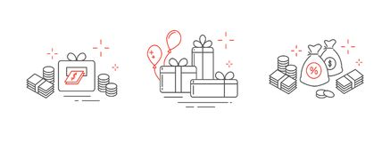 Icons from fine lines, gifts, a lot of money, online winnings. Holiday icons lines, online winning heaps of money Royalty Free Stock Photo