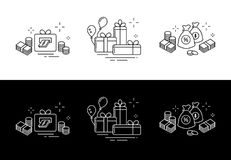 Icons from fine lines, gifts, a lot of money, online winnings. Holiday icons lines, online winning heaps of money Stock Photo