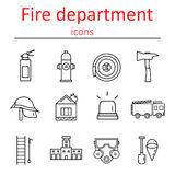 Icons of the fire department in the style of the line. Stock Photography