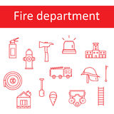 Icons of the fire department in the style of the line. Royalty Free Stock Photos