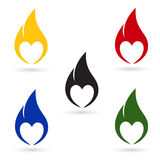 Icons of fire with heart silhouette Royalty Free Stock Image