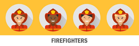 Icons firefighters of different nationalities. Fireman icon set.  Stock Photo