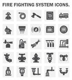 Icons. Firefighting system icons sets on white background Stock Images