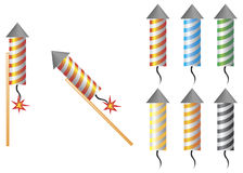 Icons fireworks. Set - racquet fireworks, different colors Royalty Free Stock Photography