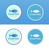 Icons of Fish with caption. Beautiful Icons - Fresh Fish, on blue and white background, Vector Illustration Royalty Free Stock Photos