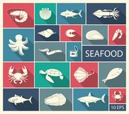 Icons of fish and seafood. Flat vector illustration Stock Images