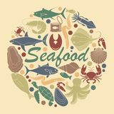 Icons of fish and seafood. In the form of a circle Stock Photo