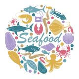 Icons of fish and seafood. In the form of a circle Royalty Free Stock Photo