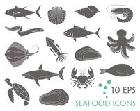 Icons of fish and seafood. Flat vector illustration Stock Image