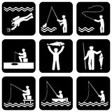 Icons fishing Royalty Free Stock Photography