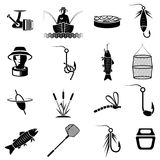 Icons on fishing theme art Stock Image