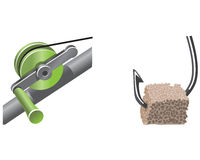 Icons fishing. Two icons on the theme of fishing gear and fishing rods baited hook Stock Photography