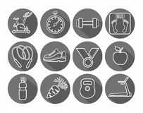 Icons fitness, gym, healthy lifestyle, white outline, black background, round. Stock Photography