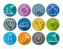 Icons fitness, gym, healthy lifestyle, white outline, solid color, round. Stock Photo