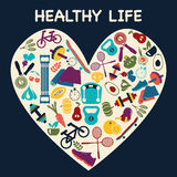 Icons about fitness sport and Healthy Lifestyle Stock Photos