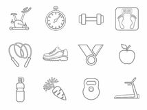 Icons, fitness, sports, gym, healthy eating, contour, line, monochrome. Royalty Free Stock Images