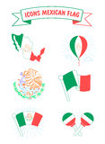 Icons of the flag and the coat of arms of Mexico Stock Photography