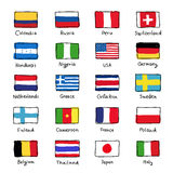 Icons of flags of different countries Stock Image