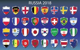 Icons flags of the participating countries 2018 Stock Image