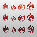 Icons  flames, fire. Fire icon set - security leads to prosperity Stock Image