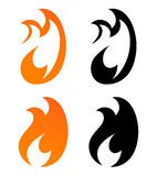 Icons with Flames of Fire. Set of Icons, Flames of Fire in Orange and Black Color. Vector Illustration of Logo with Creative Shape Royalty Free Stock Photos