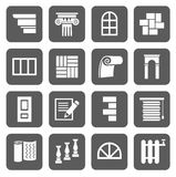The icons are flat construction,  finishing materials,  repair. Royalty Free Stock Photos