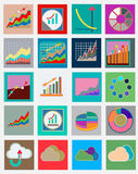 Icons with flat design elements of schedule, statistics, finance. Banking services. Modern infographic vector logo collection Royalty Free Stock Photo