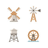 Icons flat mills. Set of vector icons mills and water tower. Buildings on the farm Stock Images