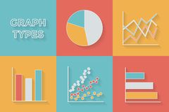 Icons in flat style. Graph types - Set of royalty free illustration