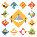 Icons flat vector set for cooking, restaurant Stock Images