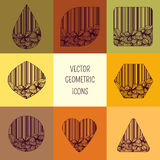 Icons with floral design. Vector geometric icons with perfect floral design Stock Images