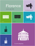 Icons of Florence. Landmarks of Florence. Set of flat color icons in Metro style. Editable vector illustration Stock Photography