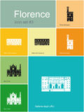 Icons of Florence. Landmarks of Florence. Set of flat color icons in Metro style. Editable vector illustration Stock Image
