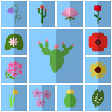 Icons floret. Vector cactus. Beautiful flowers Stock Photos