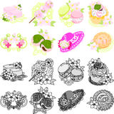The icons of flower objects Royalty Free Stock Images