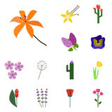 Icons flowering. Vector lily. Flower icons Stock Photo