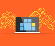 Icons flows into modern gadget Stock Photography