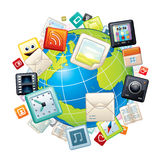 Icons Flying Around Globe. Vector Graphics Stock Photography