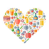 Icons for food and drink arranged in heart shape Royalty Free Stock Images