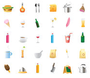 Icons for food and drinks. 30 detailed vector icons for food and drinks Royalty Free Stock Images