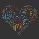 Icons for food and drinks arranged in heart shape Royalty Free Stock Photo