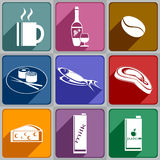 Icons of food and drinks Royalty Free Stock Image