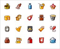 Icons on food and drinks theme. Label for supermarkets, markets, stores. Pictograms on culinary and gastronomic series. Set of 20 icons on food and drinks theme Royalty Free Illustration