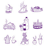 Icons of food and drinks. Vector illustration of icons of food and drinks Royalty Free Stock Photography