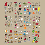 Icons food and fitness set cartoon Royalty Free Stock Photo