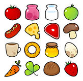 Icons with food meals. Royalty Free Stock Photos