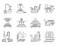 Icons for food processing industry. Flat line icons collection for elements of food processing. Manufacturing equipment, preparing food to distribution and trade Royalty Free Stock Photo