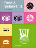 Icons of food and restaurants Royalty Free Stock Images