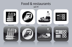 Icons of food and restaurants Royalty Free Stock Photo